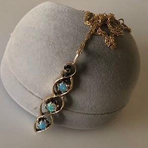 Gorgeous Vintage 14k Blue Fire Opal Pendant